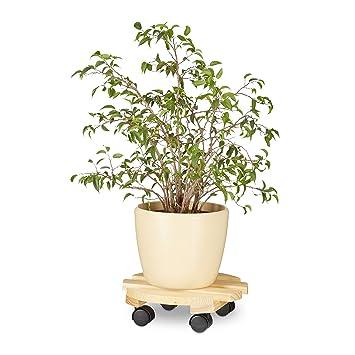 Relaxdays Pflanzenroller rund, 4 Rollen, Rolluntersetzer, für ...