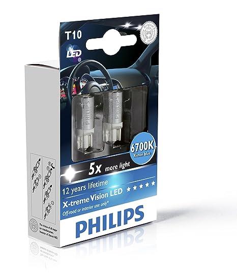 Philips 129326700KX2 X-tremeUltinon LED T10 W5W Bombilla de señalización y interior del coche,