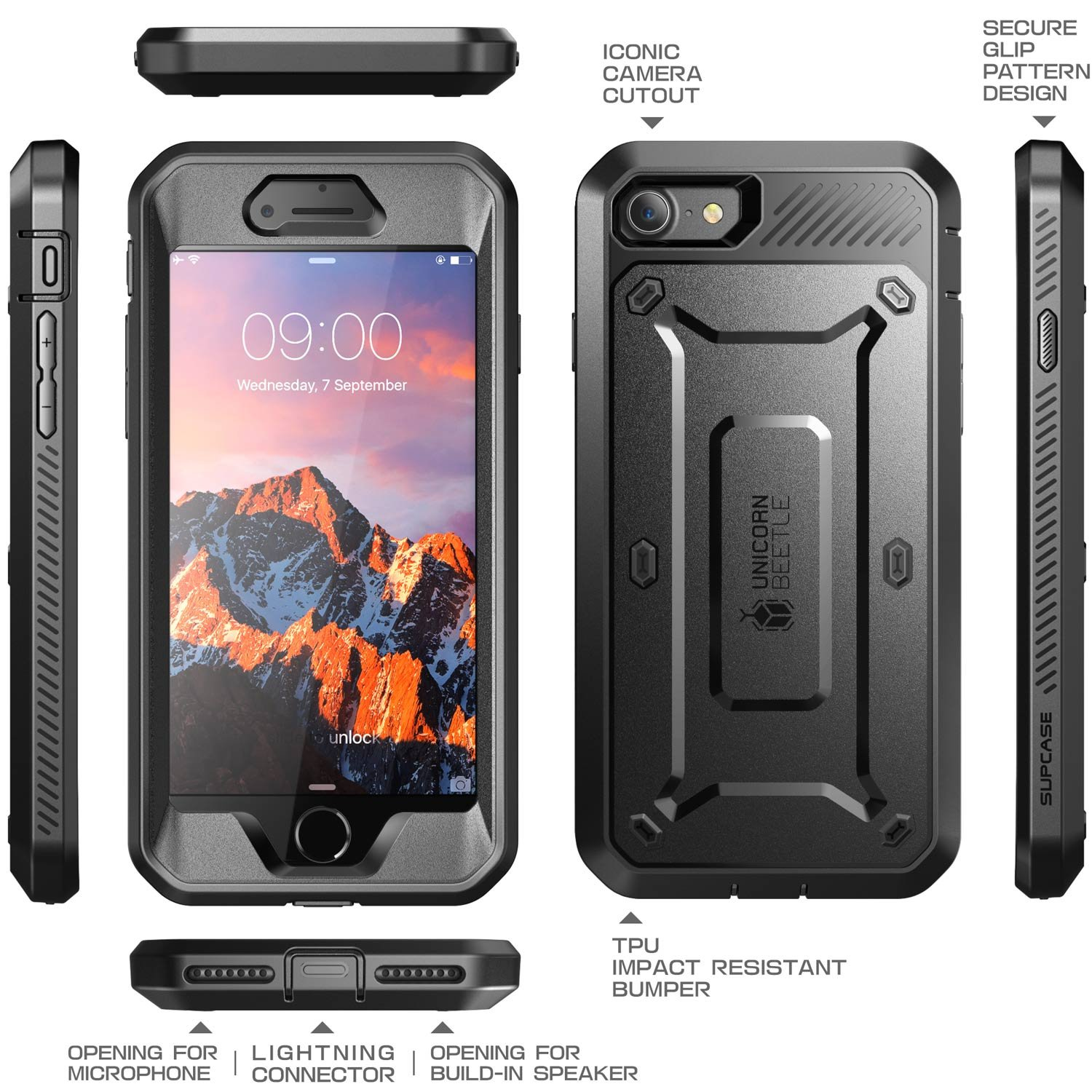 iPhone 8 Case, SUPCASE Full-body Rugged Holster Case with Built-in Screen Protector for Apple iPhone 7 2016/iPhone 8 (2017 Release), Unicorn Beetle PRO Series - Retail Package (Black/Black) by SUPCASE (Image #3)