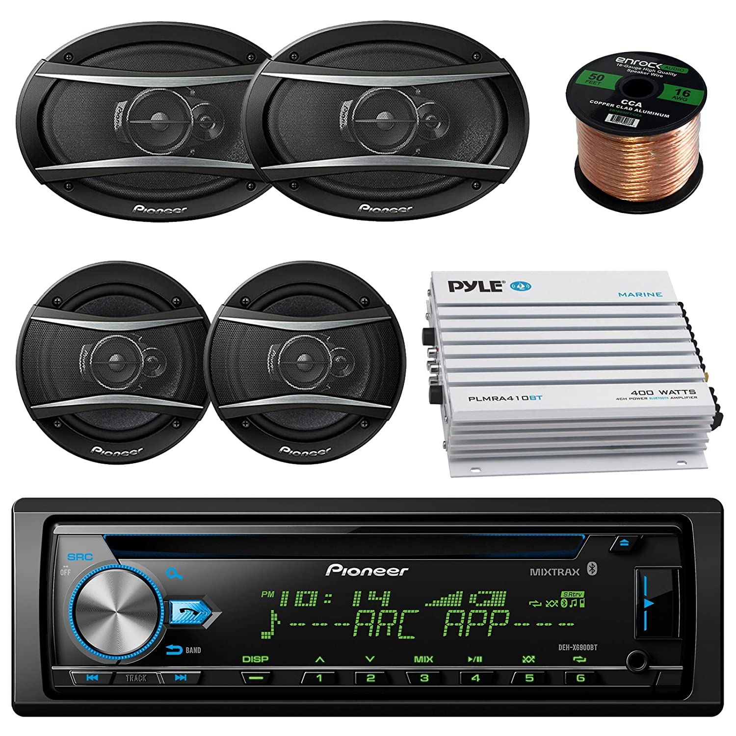 Low Cost Pioneer Dehx 6900bt Car Cd Mp3 Stereo Player With Bluetooth Amplifier Dual Handlebar Mount Weatherproof Speakers W Fm Radio Am Bundle 2 X 6x9 Inch 65 400 Watt Audio Amp Complete