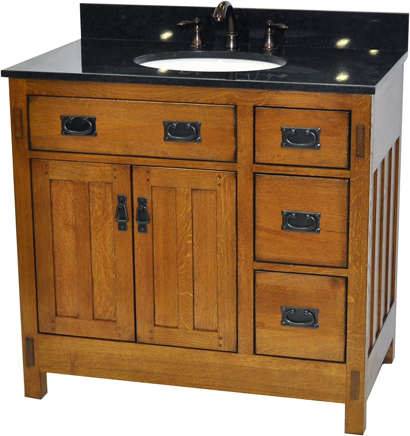 Sagehill Designs American Craftsman 36 Inch Bathroom Vanity Base Rustic Oak Finish Amazon Com