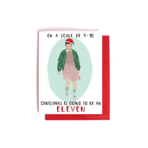 stranger things eleven christmas card funny xmas card friendship card