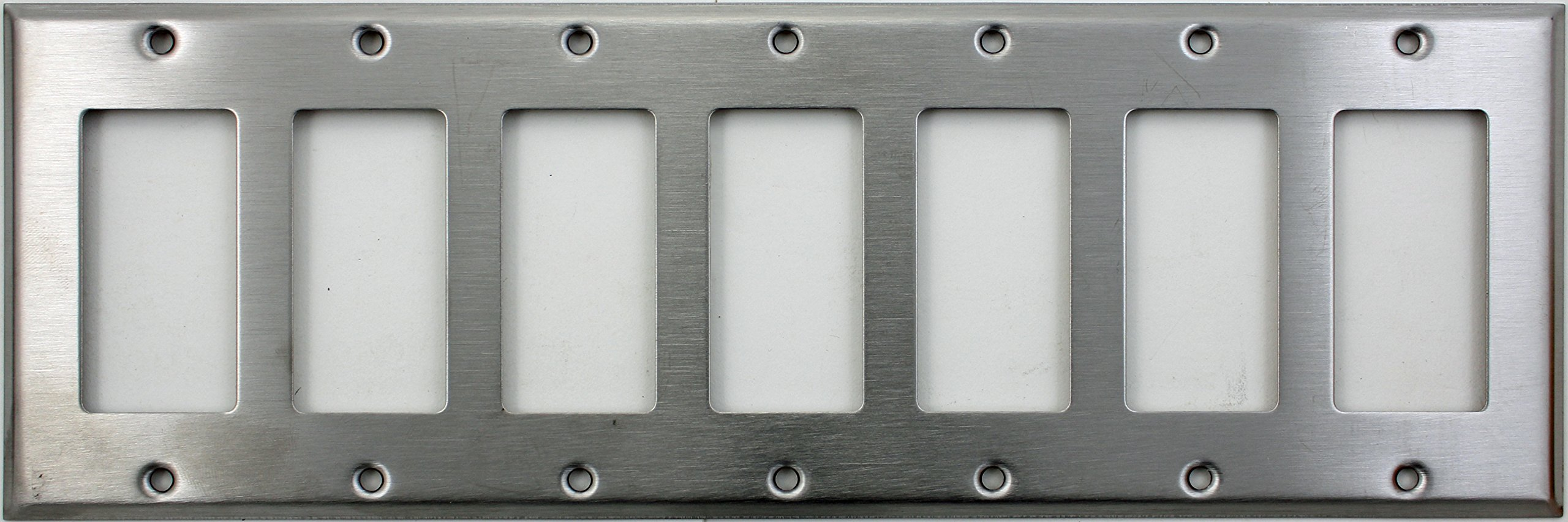 Brushed Satin Stainless Steel 7 Gang GFI/Rocker Switch Wall Plate