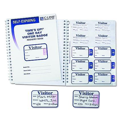 C-Line Times Up! Self-Expiring Visitor Badge with Registry Log, 150 24-Hour  Badges (97009)
