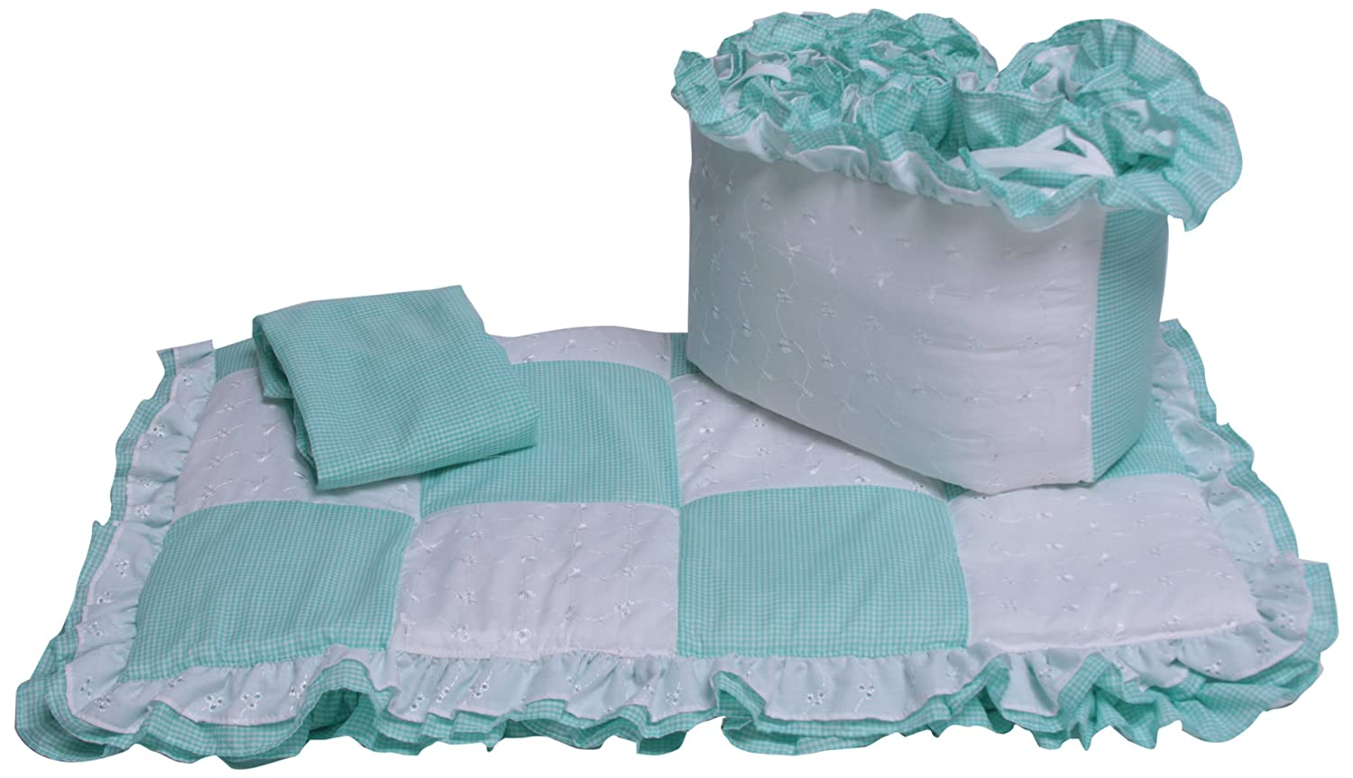 Baby Doll Bedding Gingham Cradle Bedding Set, Mint