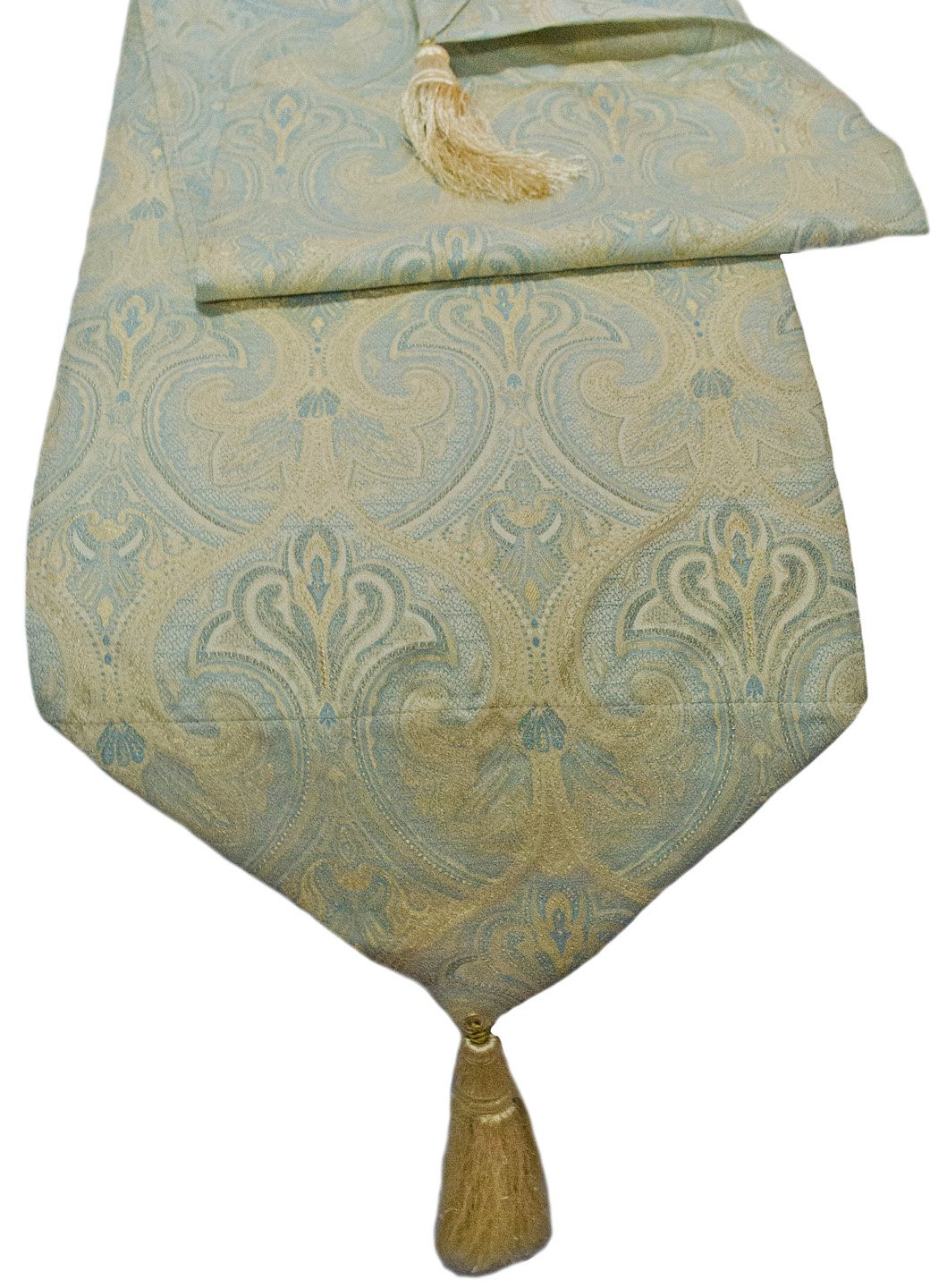Paisley Damask Table Runner Tassel Mint Green Ivory Gold