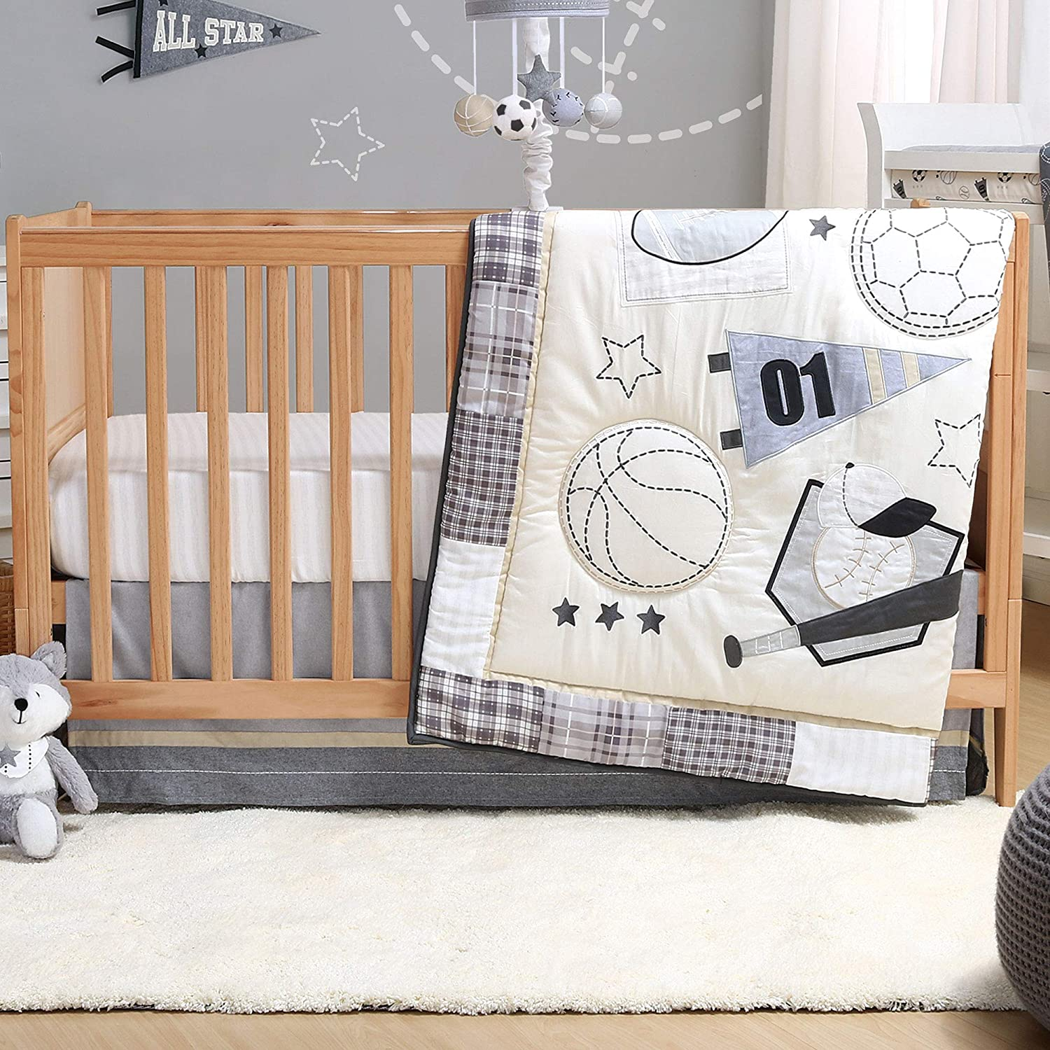 Sports League Grey 3-Piece Baby Boy Crib Bedding Set by The Peanutshell