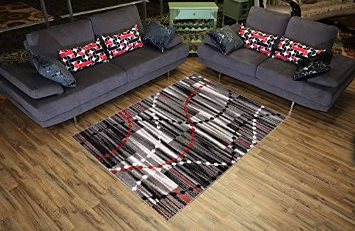 Designer Collection Stripes and Beads Design Contemporary Modern Area Rug Rugs 2 Options Red