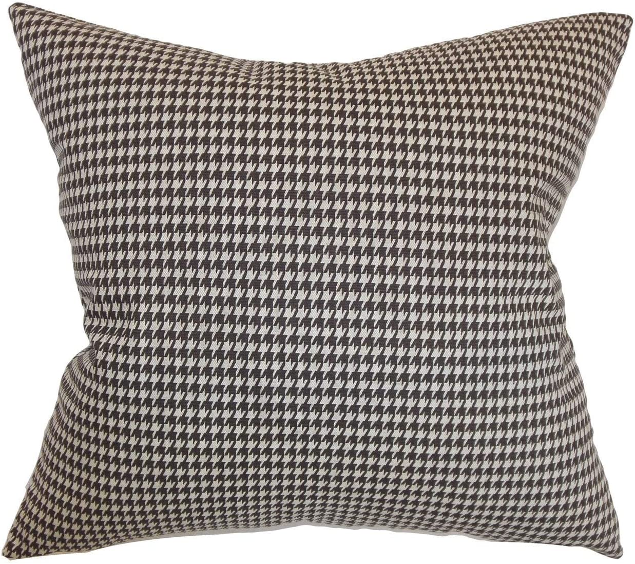 The Pillow Collection Lviv Houndstooth Chocolate Linen Down Filled Throw Pillow Home Kitchen