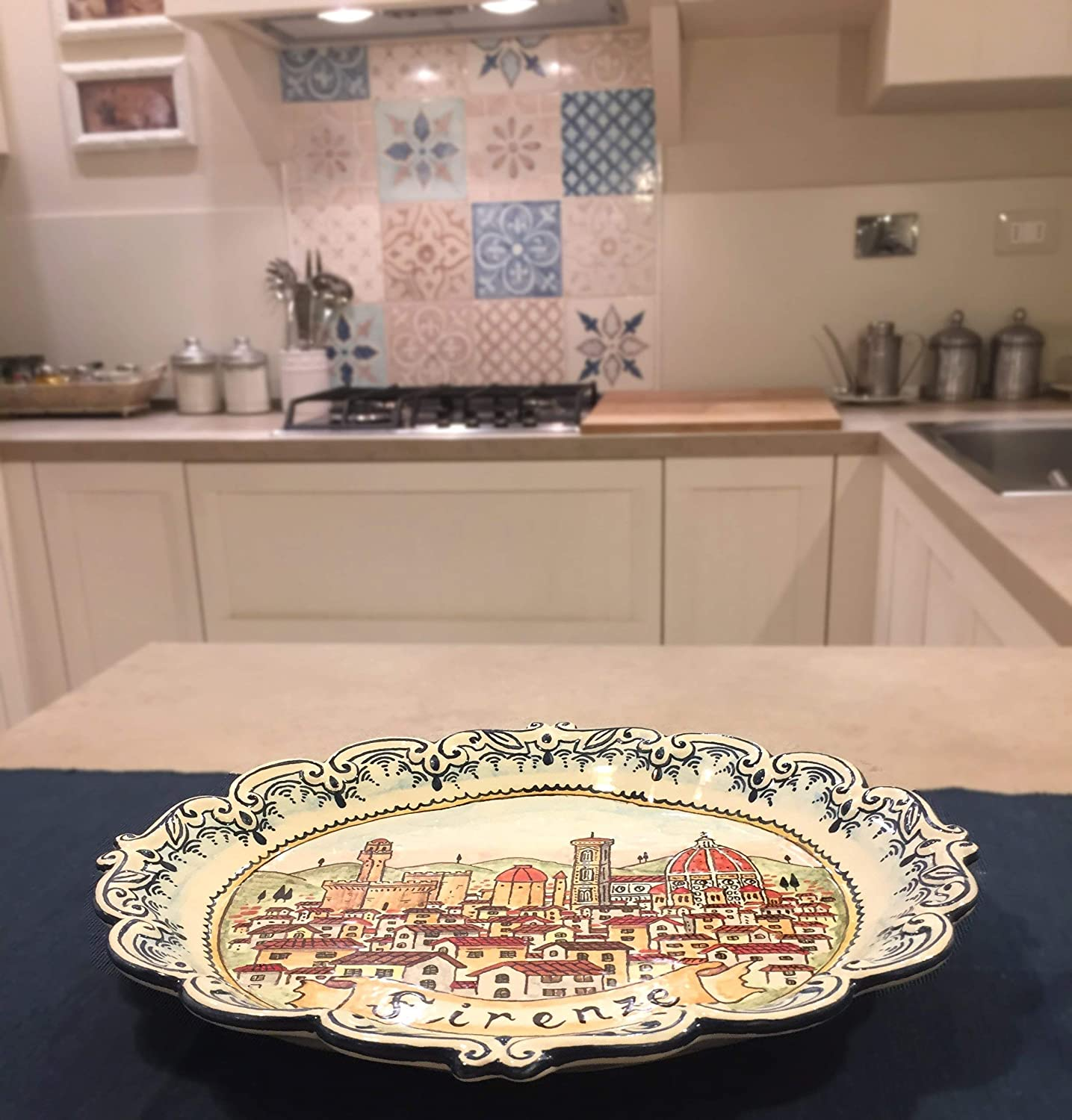 CERAMICHE D'ARTE PARRINI - Italian Ceramic Plate Serving Tray Art Pottery Painted Florence Made in ITALY Tuscan