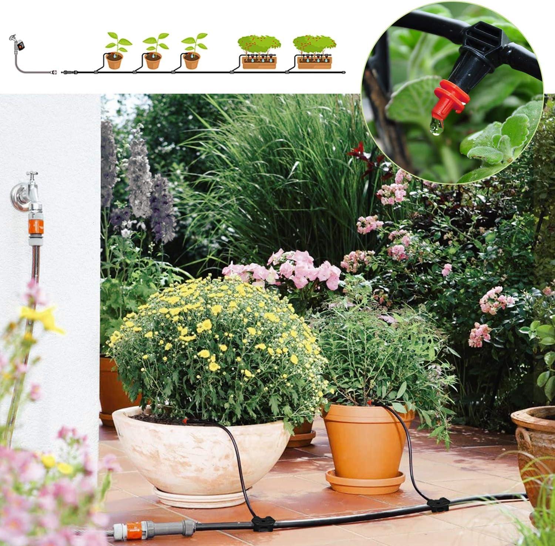 FIXKIT DIY Garten Bew/ässerungssystem Micro Drip Gartenbew/ässerungssystem Bew/ässerung Kit Automatische Gew/ächshaus Sprinkler Tr/öpfchenbew/ässerung f/ür Garten Blumenbeet Terrasse Pflanzen 30M