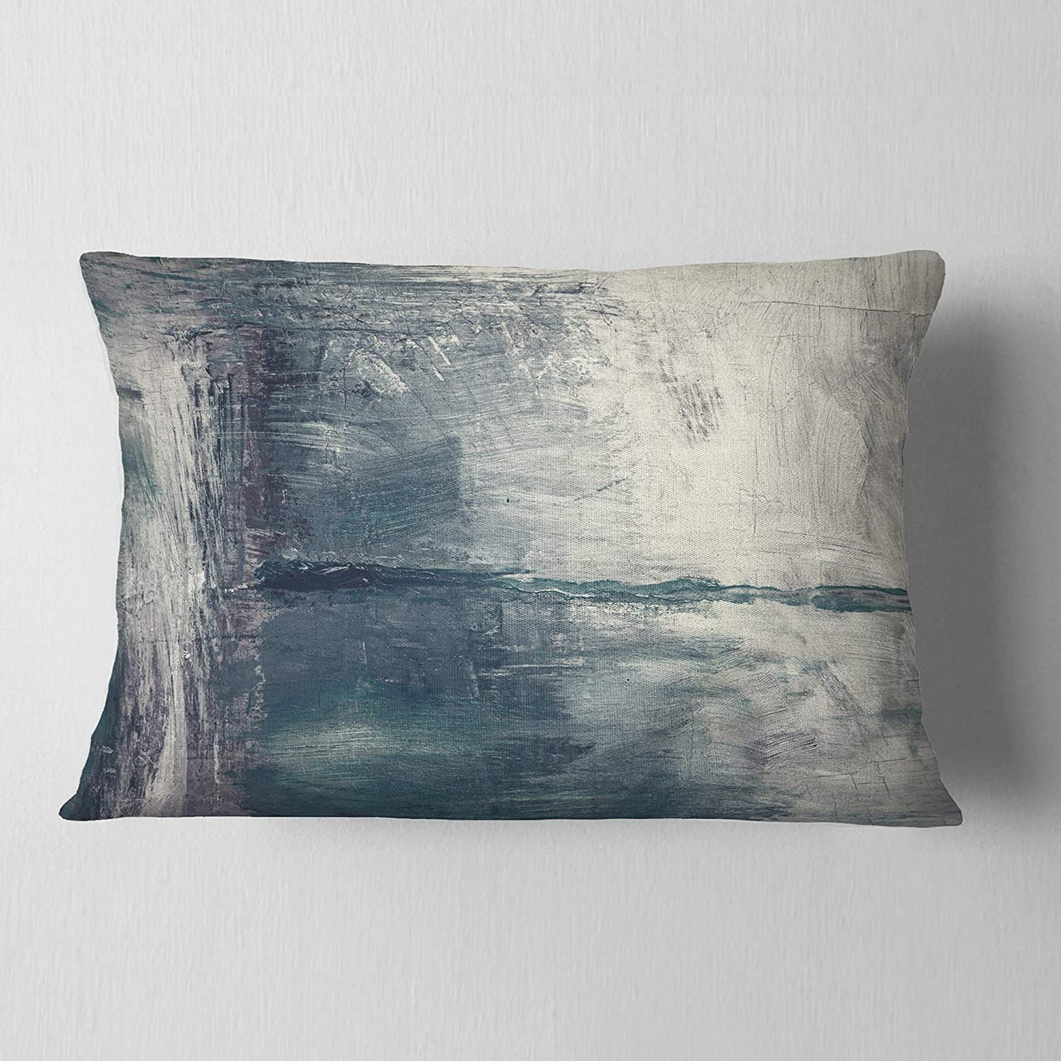 Insert Printed On Both Side x 20 in Designart CU8501-12-20 Grey Pattern Oil Painting Abstract Lumbar Cushion Cover for Living Room 12 in Sofa Throw Pillow in