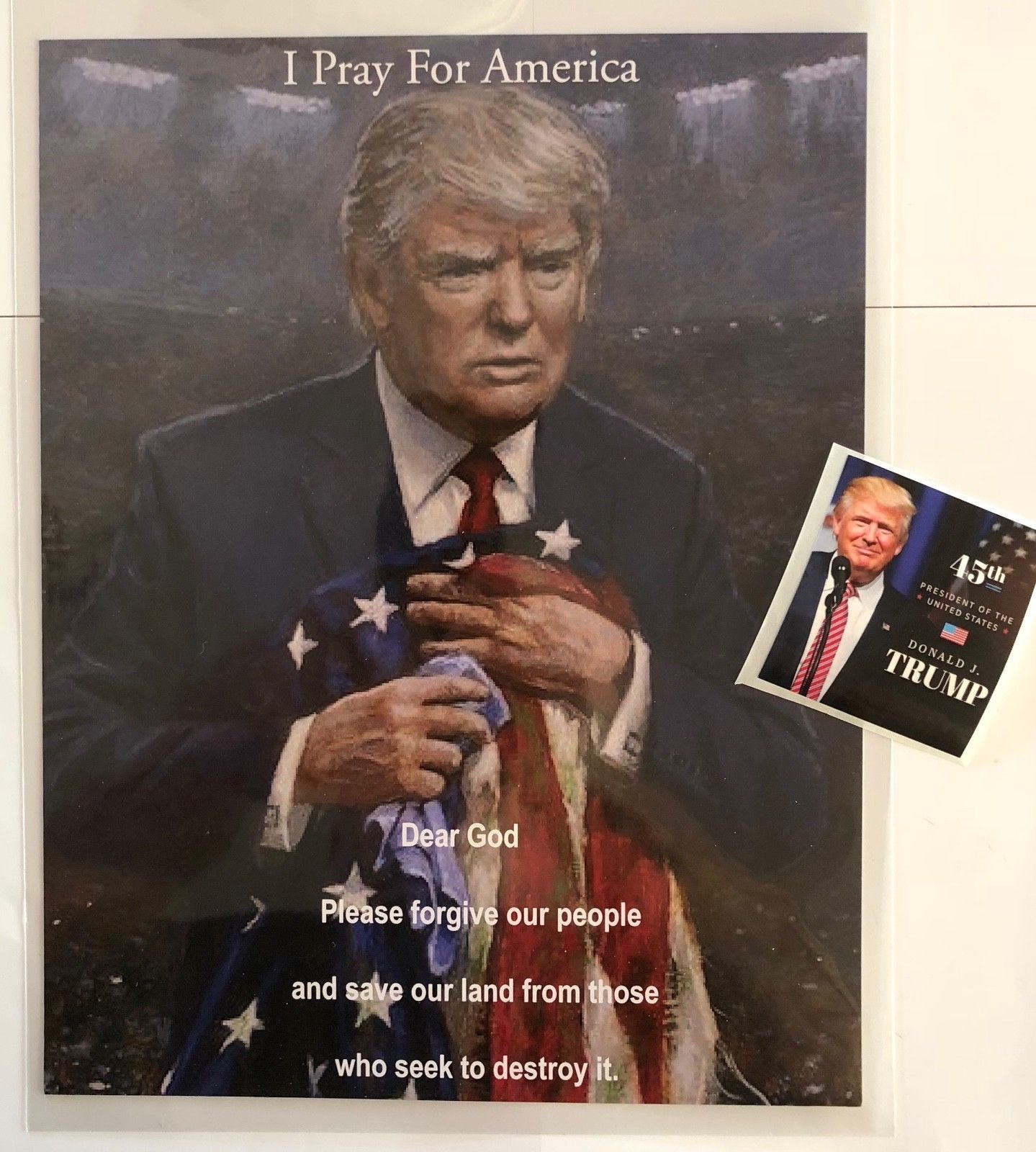 President Donald Trump 8 1/2'' x 11 on Card Stock.Prayer, Photo, Picture + Decal