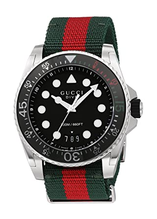 Gucci Swiss Quartz Stainless Steel and Nylon Dress Multi-Color Mens Watch(Model: