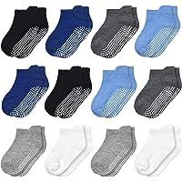 Toddler Socks SkiBeaut 12 Pairs Non Slip Skid Ankle Socks For Kids Boys Grips Cotton Crew Socks For 1-10 Years