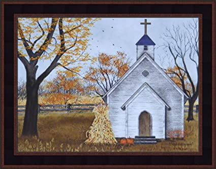 Blessed Assurance By Billy Jacobs 15x19 Country Church Steeple Cross Corn Shock Pumpkins Autumn Fall Framed