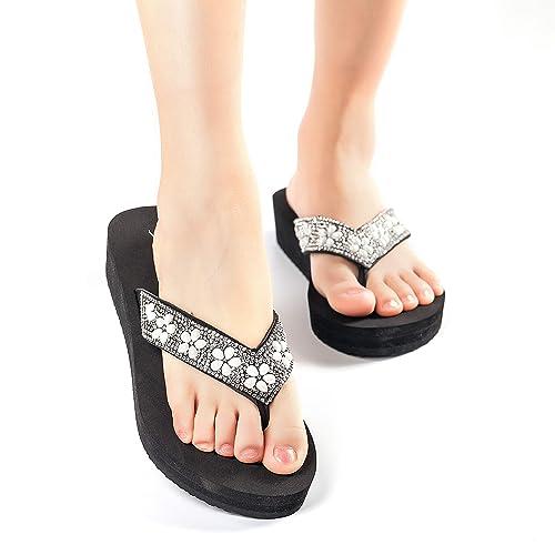 77a1488d457 Nova Utopia Women s Casual Summer Flip-Flop Wedge Sandals