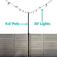 IYN Stands Outdoor String Light Pole, 9.6 Ft. Tall, Weather Resistant, Black (Single w/Mounting Clamps, Black)