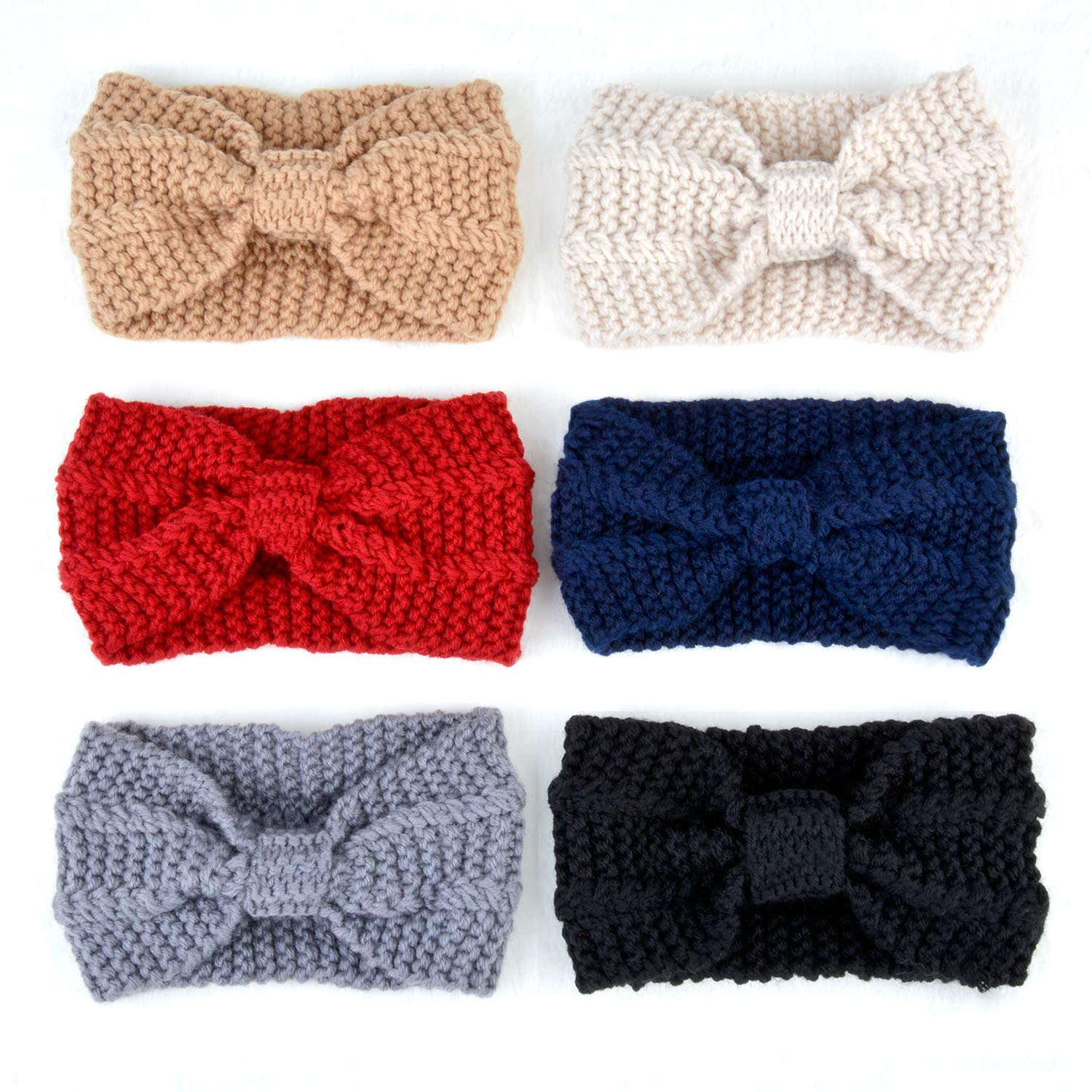 Fascigirl 6 PCS Women\'s Knit Headband Ear Warmers Winter Wide Bow Hair Bands Turban Hair Accessories