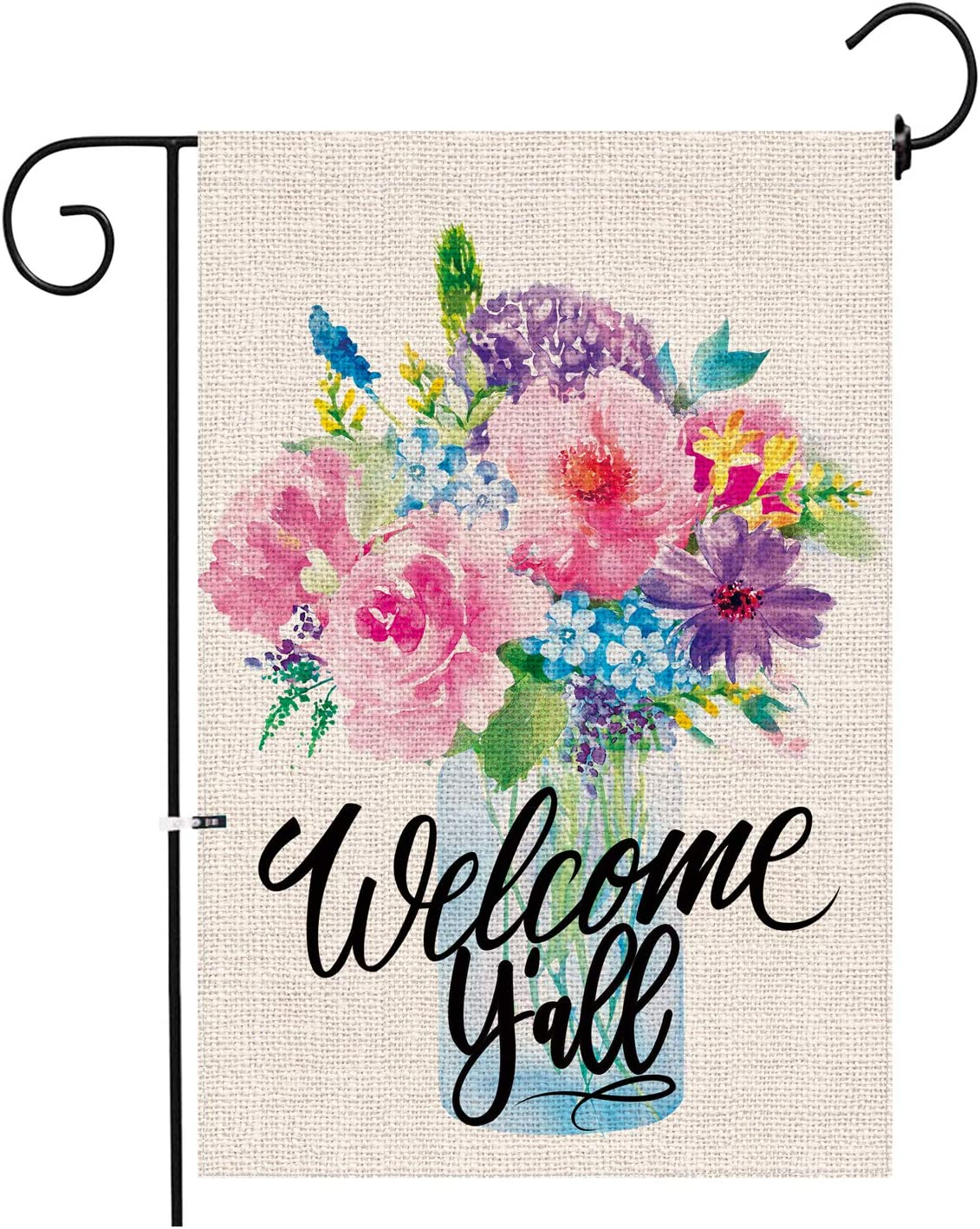 Hexagram Spring Garden Flag,Welcome Y'All Yard Small Burlap Garden Flag Double Sided,Mason Jars Flowers Spring and Summer Welcome Outdoor Decoration Sign,Garde Flags 12x18 Prime