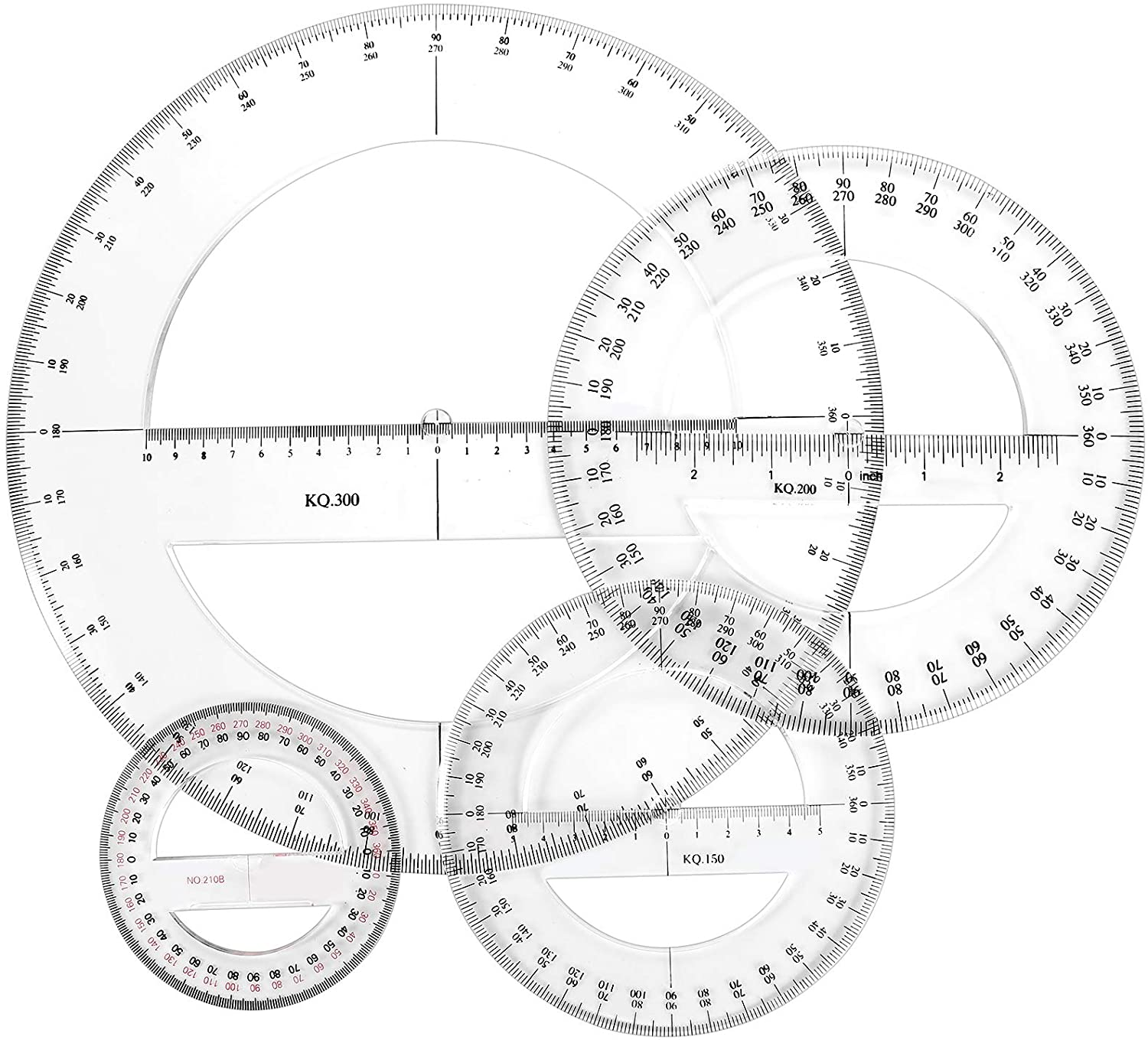 Multi-size Plastic Protractor 360 Degrees Math Protractors Clear Circular Protractors Mathematical Tool for Angle Measurement, Student School Office Supplies (4 Inch, 6 Inch, 8 Inch, 12 Inch): Home Improvement