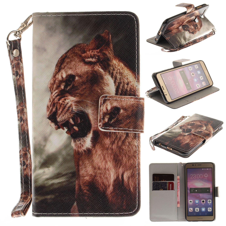 50%OFF Para Huawei Honor 8 funda, (león) caja del teléfono de la PU ...