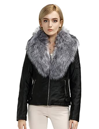 Bellivera Womens Faux Fur Collar Leather Short Jacket At Amazon