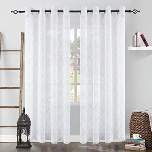 KEQIAOSUOCAI Moroccan Tile Embroidery White Semi Sheer Curtain for Living Room Grommet Faux Linen Sheer Quatrefoil Window Draperies Semi Voile 2 Panels 52 x 95 Inches