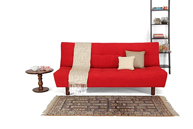 Forzza Clara Three Seater Sofa Cum Bed (Red)