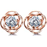 Lydreewam Women Rose Gold Earrings 925 Sterling Silver 3A 6MM Cubic Zirconia for Mother's Day Jewelry Gift