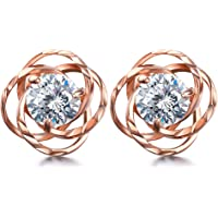 Lydreewam Women Rose Gold Earrings 925 Sterling Silver 3A 6MM Cubic Zirconia for Thanksgiving Christmas Jewelry Gift