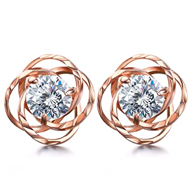 1b533162b7d94 Lydreewam Women Rose Gold Earrings 925 Sterling Silver with 3A 6MM Cubic  Zirconia