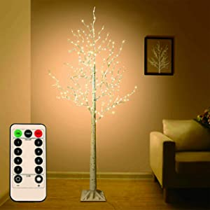 5 FT Birch Tree Light 305 LEDs Warm White 8 Flashing Modes Remote Dimmable Lighted Trees for Home Decor Party Wedding Festival Decoration, etc.(Remote, Base and Plug Included)