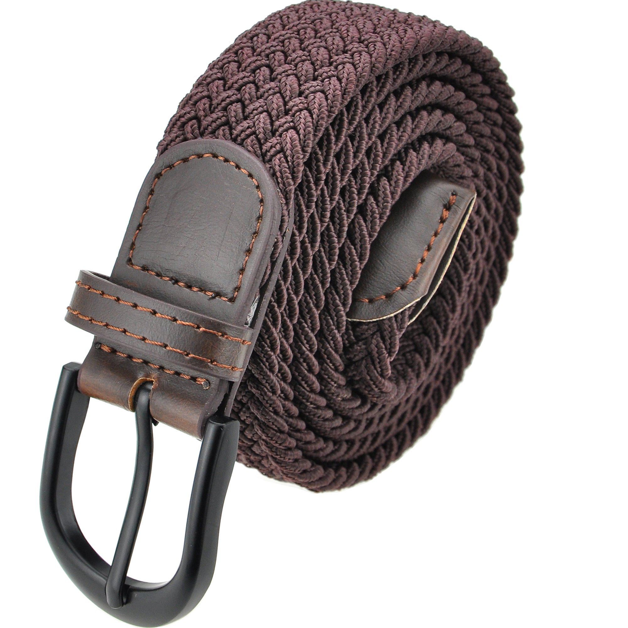 Braided Stretch Elastic Belt with Pin Oval Solid Black Buckle Leather Loop End Tip with Men/Women/Junior (Brown, Large 36''-38'' (44'' Length))