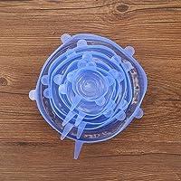 Siliconen afdekdeksels 6 stuks Opslag Behoud Flexibel voor thuis(Six-piece set-blue)