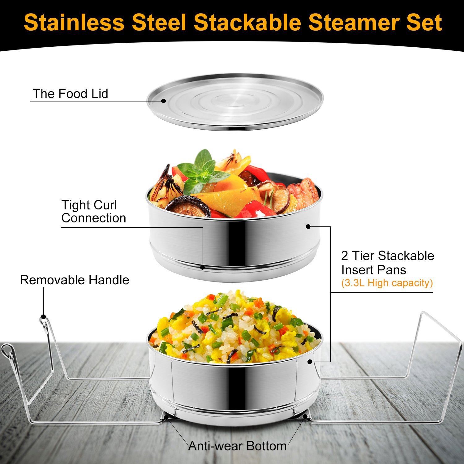 Stackable Steamer Insert Pans, Stainless Steel Insert Steamer for 6/8 Quart Instant Pot Pressure Cooker Baking Lasagna Pans Pot in Pot Accessories Cook 2 foods at Once by youermei (Image #2)