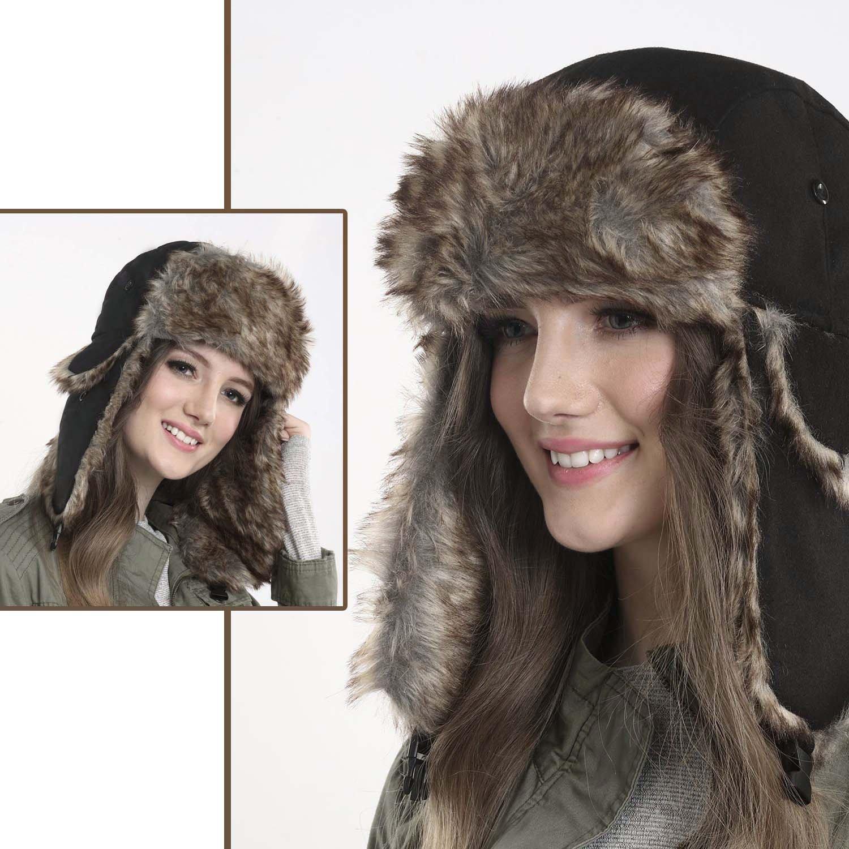 Yesurprise Trapper Warm Russian Trooper Fur Earflap Winter Skiing Hat Cap Women Men Windproof by Yesurprise (Image #6)