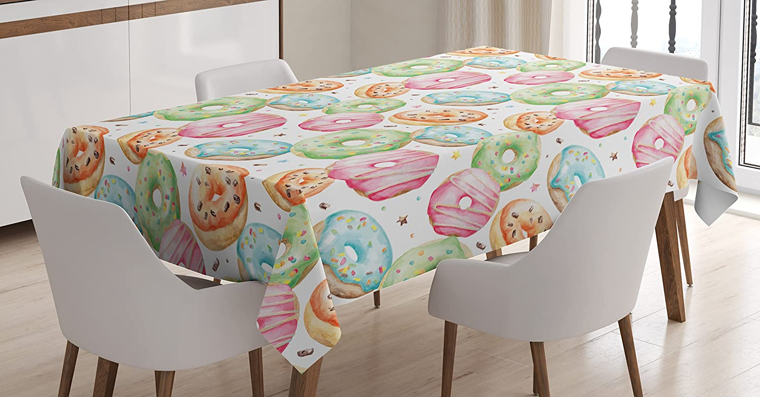 Ambesonne Watercolor Tablecloth, Delicious Donuts Pattern with Various Flavors Sprinkles Stars Background, Dining Room Kitchen Rectangular Table Cover, 60