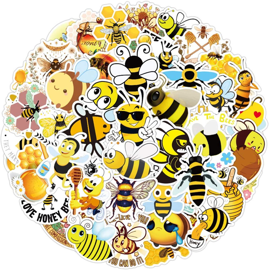 50PCS Honey bee Stickers for Laptop and Computer, Anime Cartoon Waterproof Vinyl Stickers for Water Bottle Hydro Flask Car Bumper Luggage,Cute Graffiti Decals for Teens Girls Boys Adults (Honey bee)