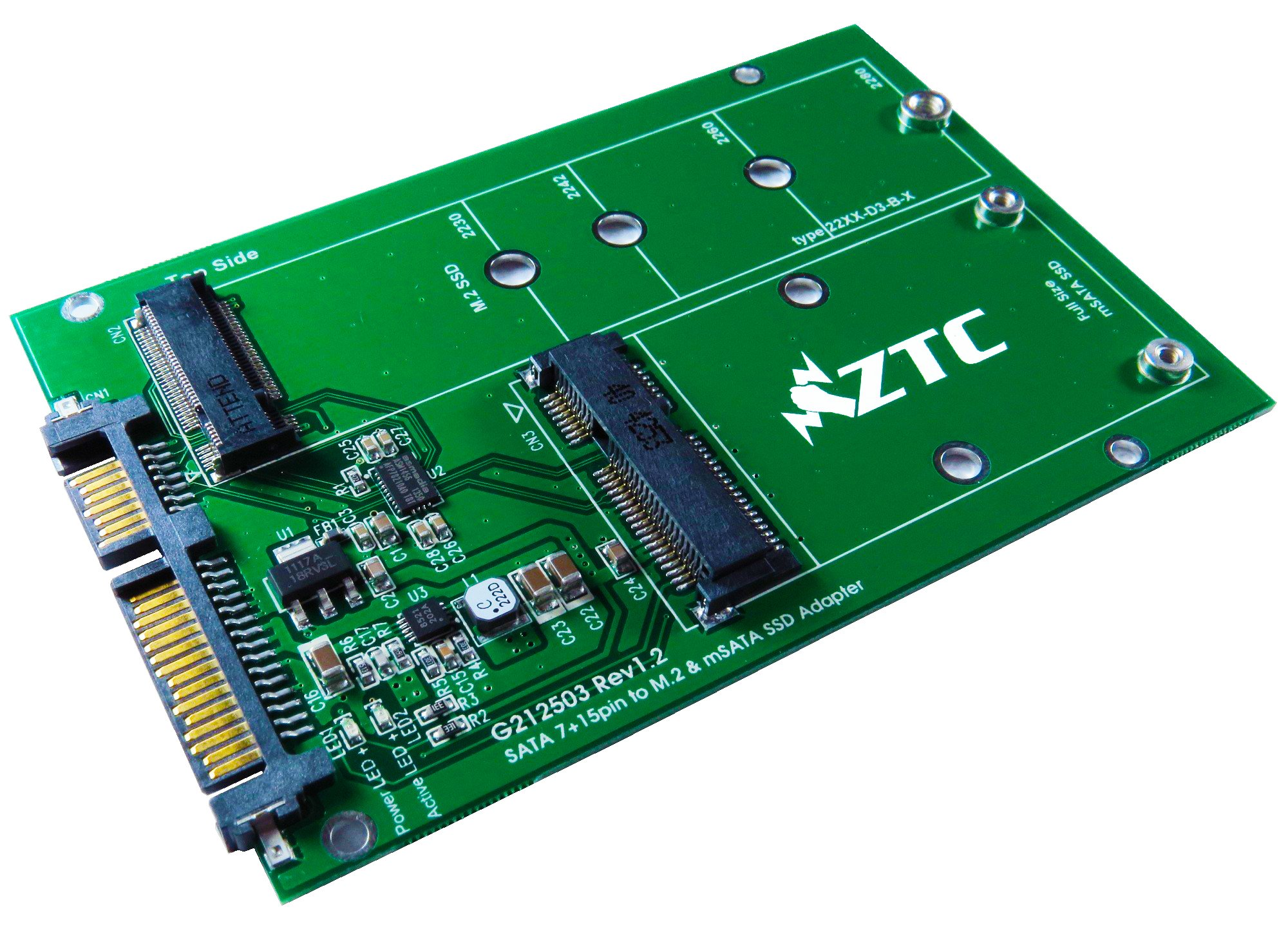 ZTC 2-in-1 Thunder Board M.2 (NGFF) or mSATA SSD to SATA III Board Adapter. Multi Size Fit with High Speed 6.0GB/s. Model ZTC-AD002 by ZTC