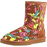 Shenduo Damen Wasserabweisend Winterstiefel Halb Schlupfstiefel Leder Boots D5125
