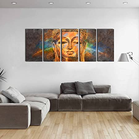 Lord buddha large size multi panel wall art pinting decorative wall hanging indoor outdoor