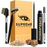 Organic SUPREME Eyelash Growth Serum and Brow Brushes - 100% Vegan Ingredients 'Dermatologist Certified' - No Irritations, No Side Effects - Guarantee Results In Just 4 Weeks for Longer, Thicker Lash