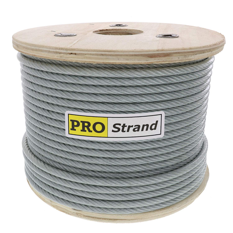 Pro Strand 1/4'' X 500', Coated to 5/16'' Diameter, 7x19, Vinyl Coated Galvanized Cable Reel