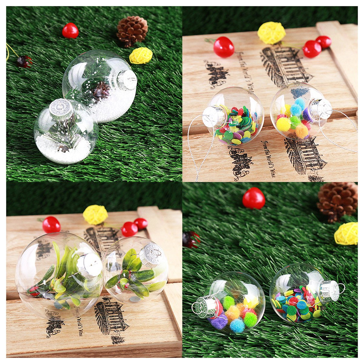 Wood Bauble Making kit 5 Real wood discs 4-6cm diameter ..christmas twig feather