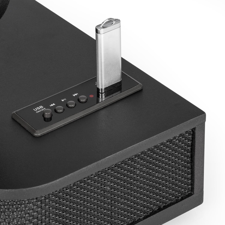 auna Verticalo DAB /• Giradischi Piatto /• Tuner VHF USB BT AUX /• Retr/ò /• Giradischi verticale /• Stile vintage /• Altoparlanti integrati /• Trasmissione a cinghia /• Sveglia /• LCD /• USB MP3 /• Legno