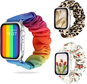 DamonLight Compatible for Apple Watch Band 38mm Women [3 PCS] Scrunchies Cloth Wristband 40mm iWatch Series 6 5 4 3 2 1, 38/40mm, Medium