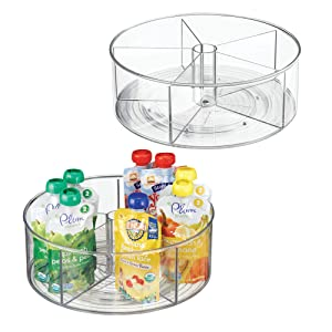 mDesign Divided Lazy Susan Turntable Storage Container for Kitchen Cabinet, Pantry, Refrigerator, Countertop - BPA Free, Food Safe - Spinning Organizer for Kids/Toddlers - 5 Sections, 2 Pack - Clear