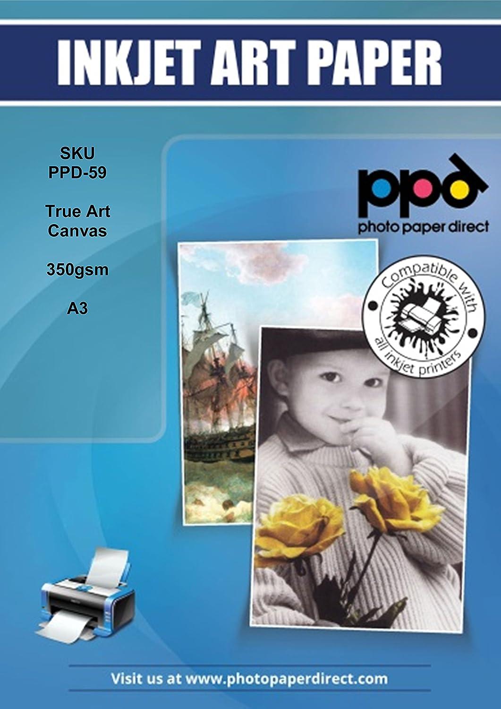 PPD DIN A3 Inkjet 350g Canvas Kunstleinwand bedruckbar, DIN A3 x 10 ...
