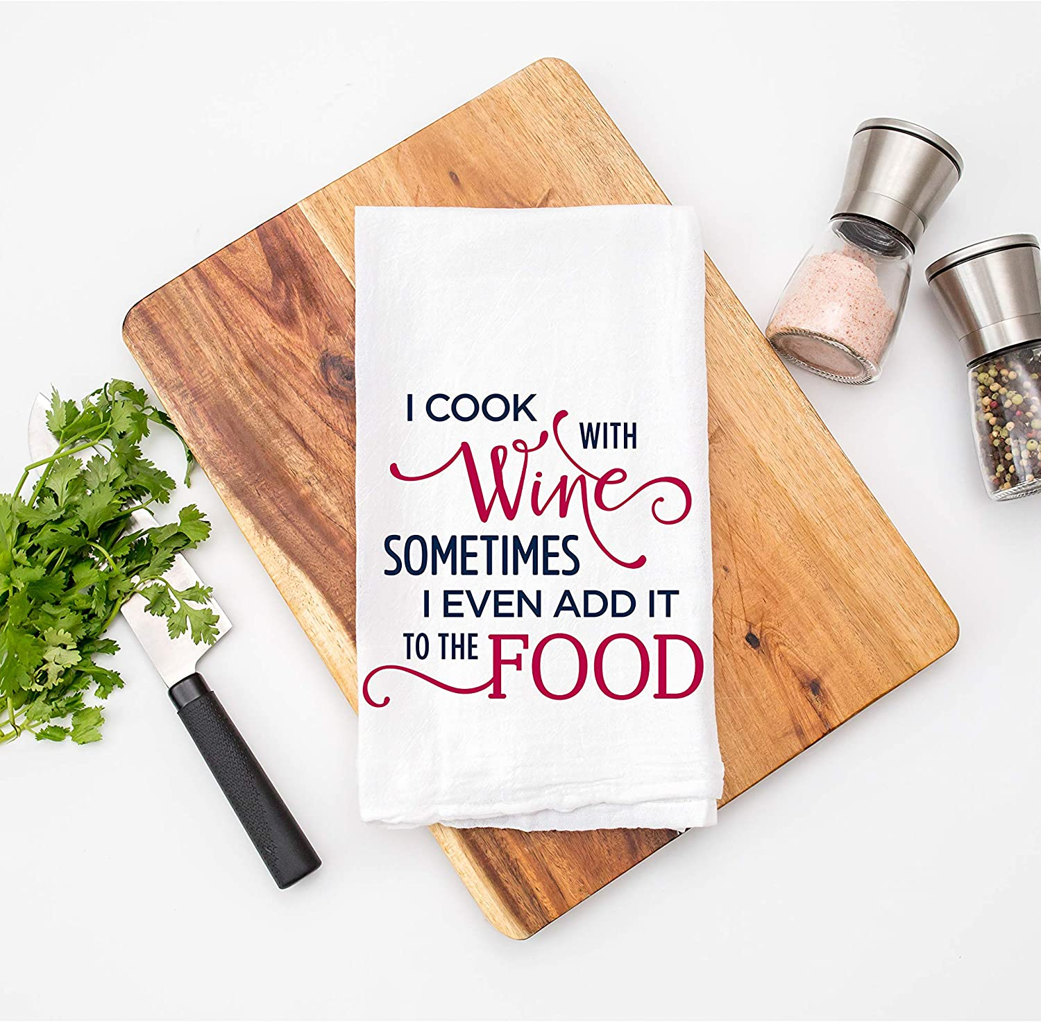 I Cook with Wine - Dish Towel Kitchen Tea Towel Funny Saying Humorous Flour Sack Towels Decoration Great Housewarming Gift 28 inch by 28 inch, 100% Cotton, Multi-Purpose Towel